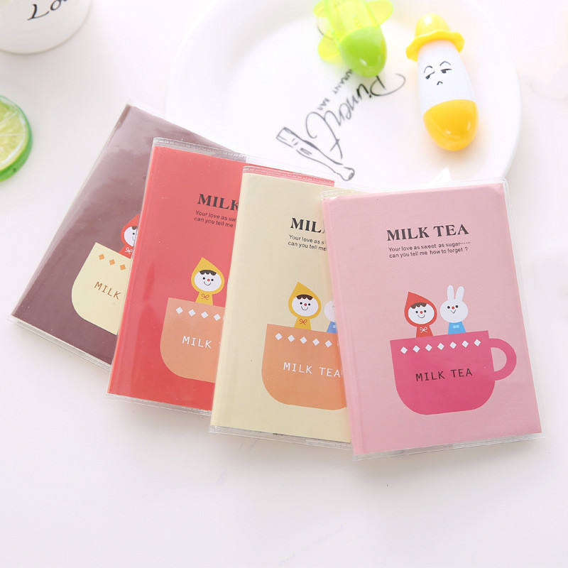 Milk Tea Cute Pastel Color Printing Removeable Girl Journal Cute Pvc A6 Notebook With Book Mark