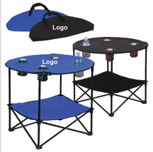 Outdoor Lightweight custom Travel Folding cooler Oxford Table foldable portable picnic camping garden tables with 4cup holder