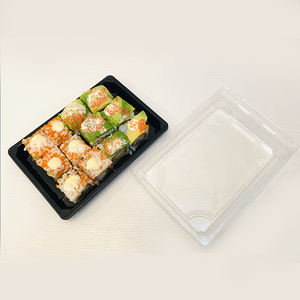 PS Eco amigable reciclable de comida de plástico desechable Biodegradable Sushi contenedor bandeja con tapa