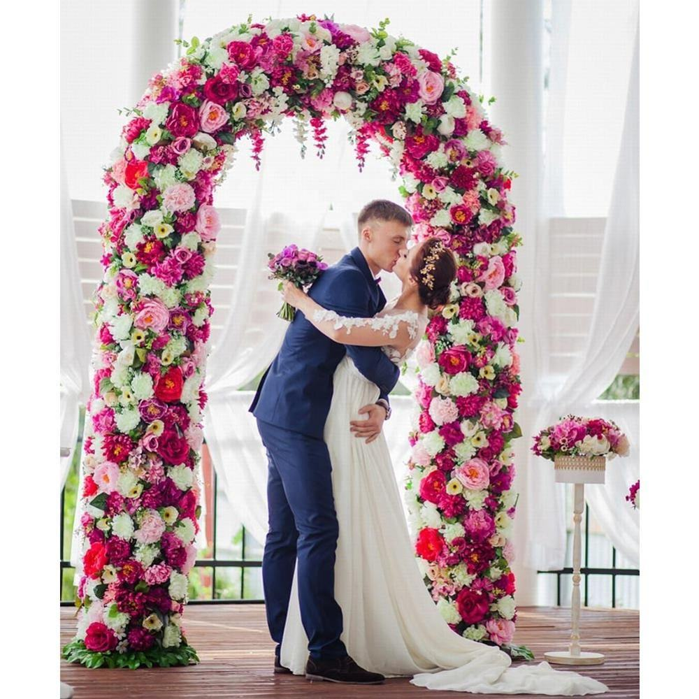 Wholesale Romantic White Round Wedding Arches Wedding Stand Circle Backdrop for Wedding Party and Decoration