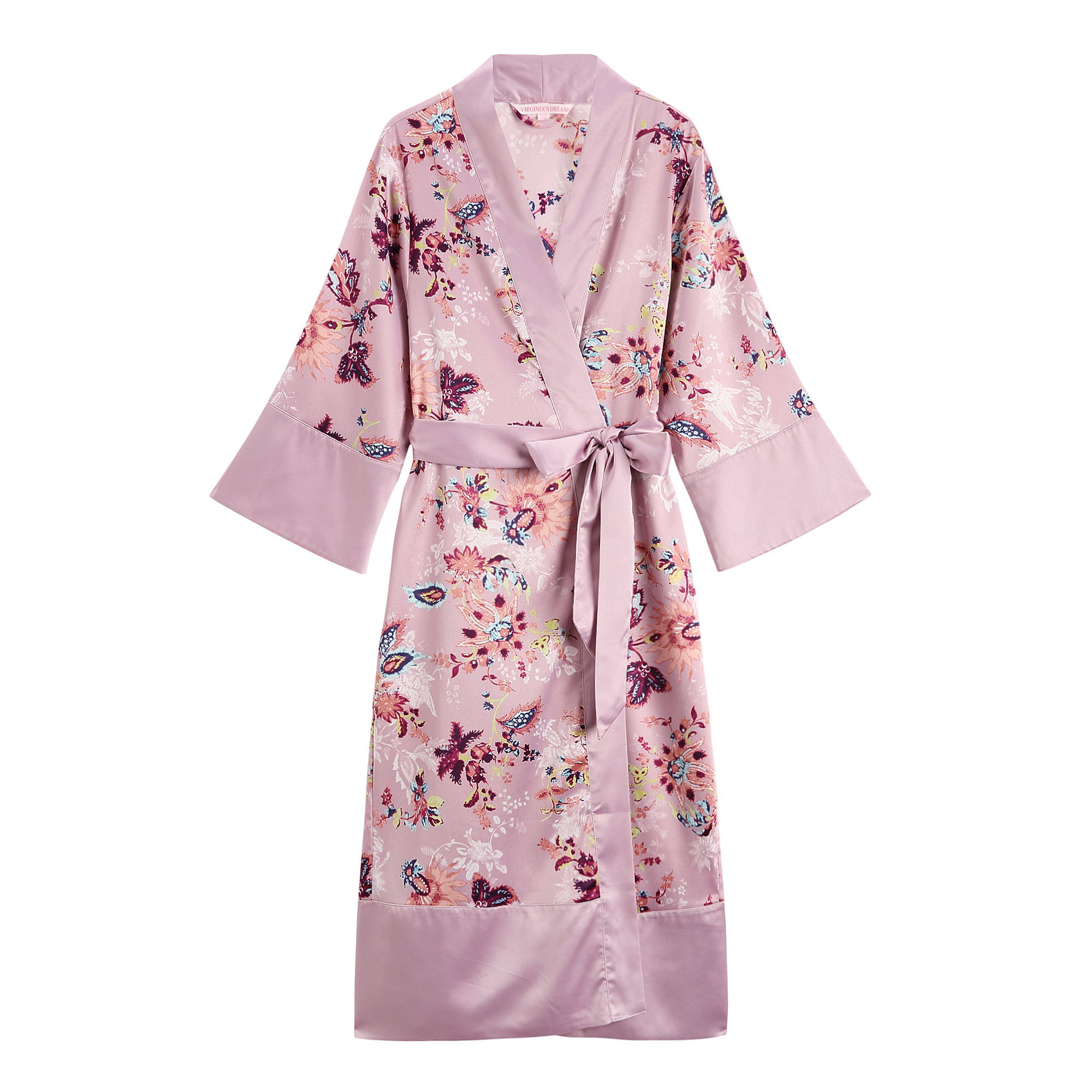 High Quality Custom Women's Long Floral Print 100%Polyester Kimono Women Sleeping Long Sleeves Silk Robe