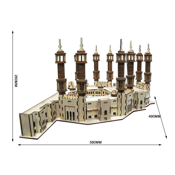 3D Wooden laser cut puzzle Mecca Tower DIY Assembly educational craft gift decoration Constructor Kit Toy for Teens