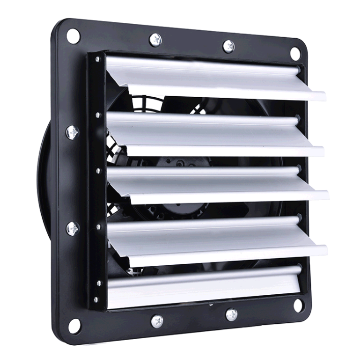 Low-noise Square Axial Fan Wall Mounted Exhaust Fan with Louver