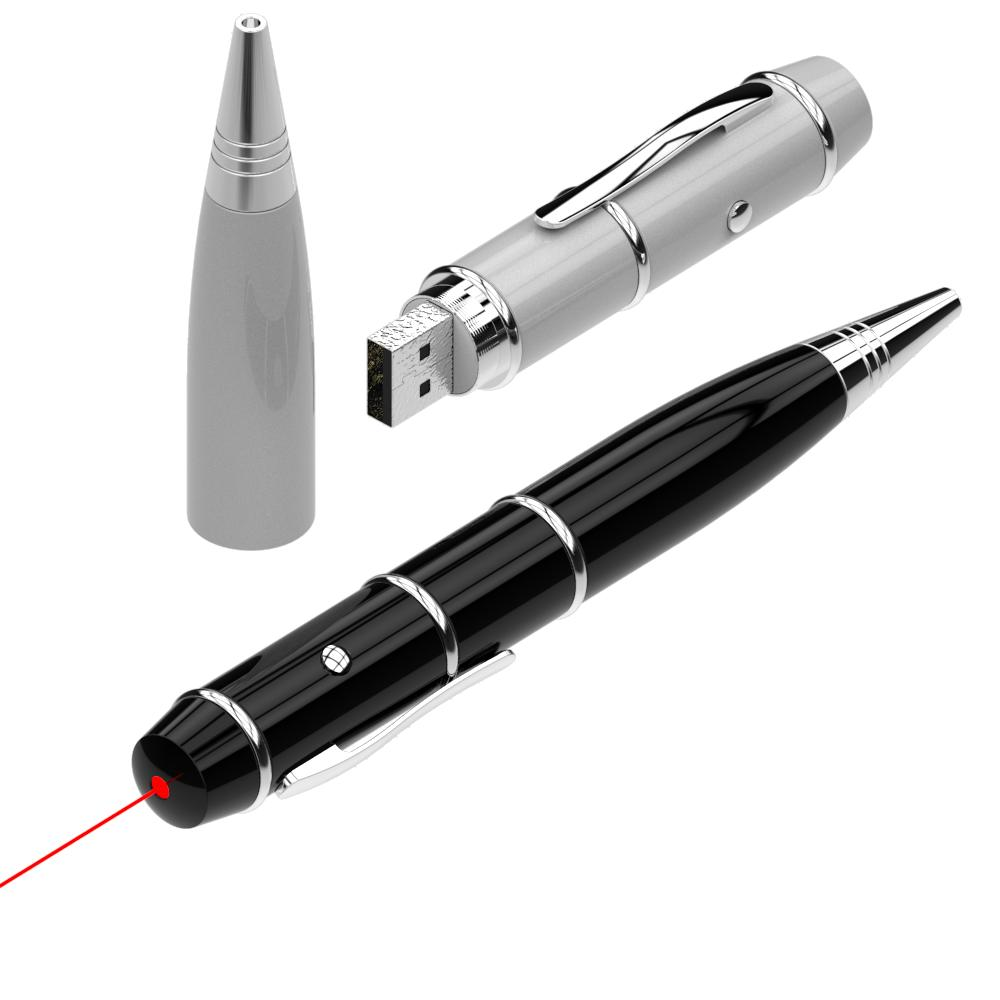 Hot Sale Laser Logo Pointer Pen Shape Usb Flash Drive 8gb 16gb 32gb Promo Gift