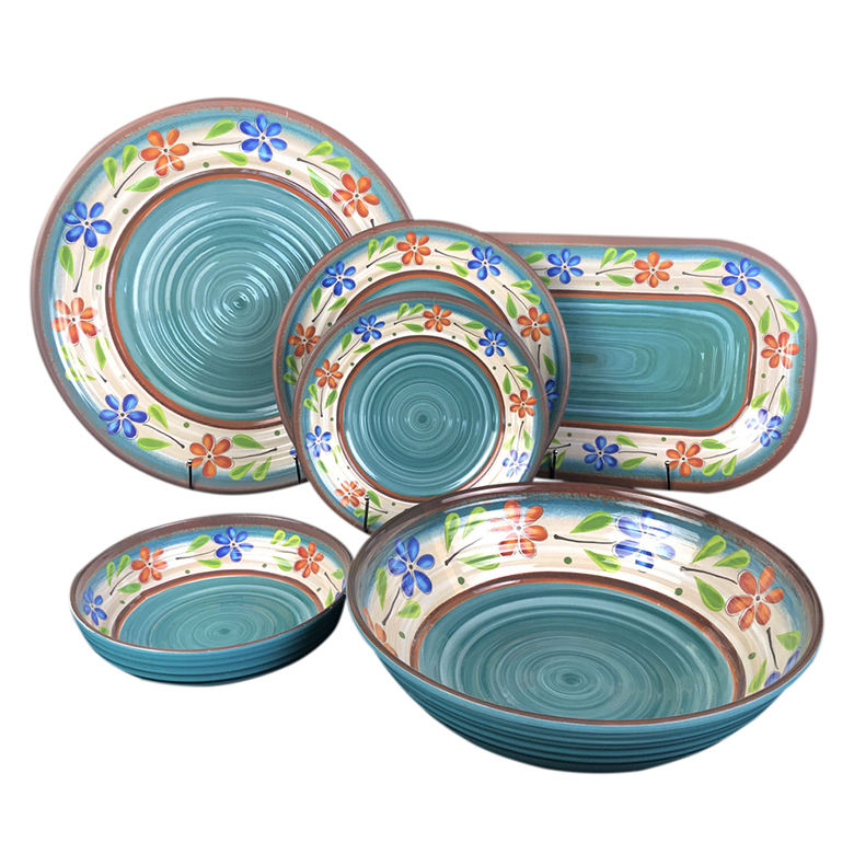 Western style whirlpool printed unbreakable 6 pcs melamine dinner set