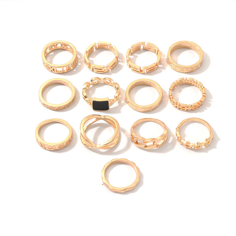 New Product Alloy Geometric Elements Letter Ring Set Of Resin 13 Joint Ring