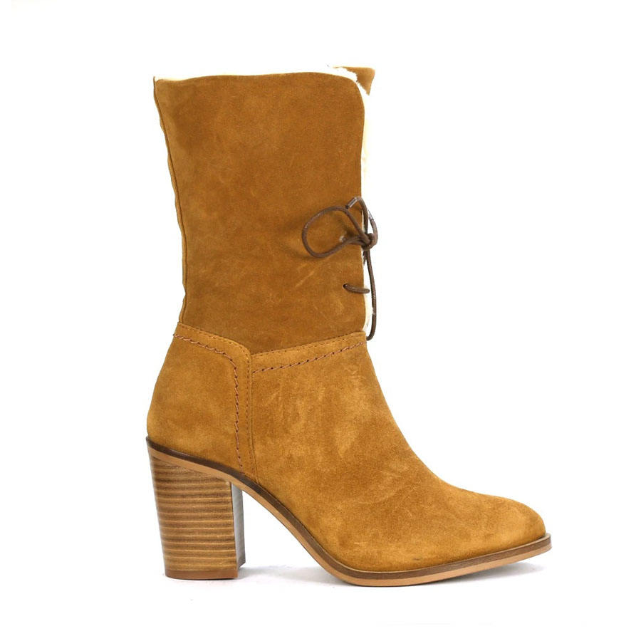 Classic handcrafted inside zip Mid calf boots faux fur lining lace up boots