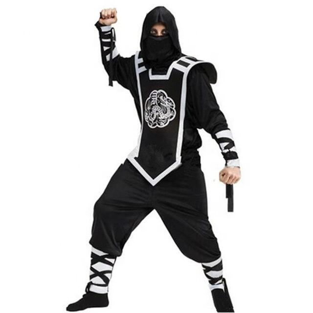 Newest Halloween Adult Mens Black Hokkaido Ninja Warrior Costume Suit Uniform Fancy Outfit Cosplay Costumes for Men
