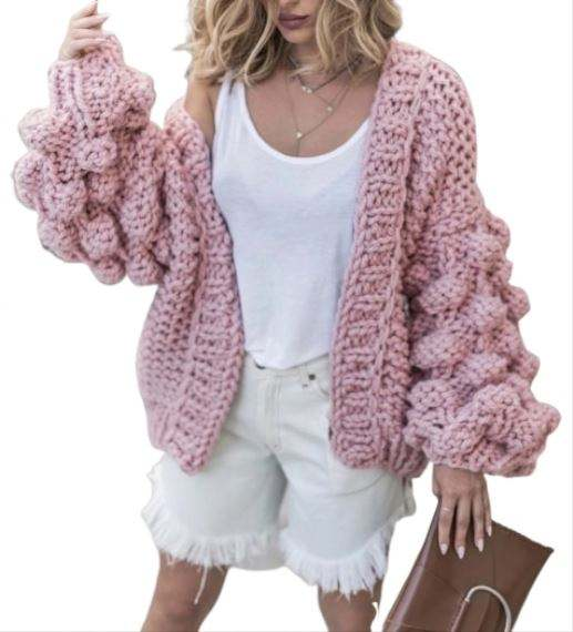 Pure hand knit ball ball lantern sleeve sweater cardigan coat women