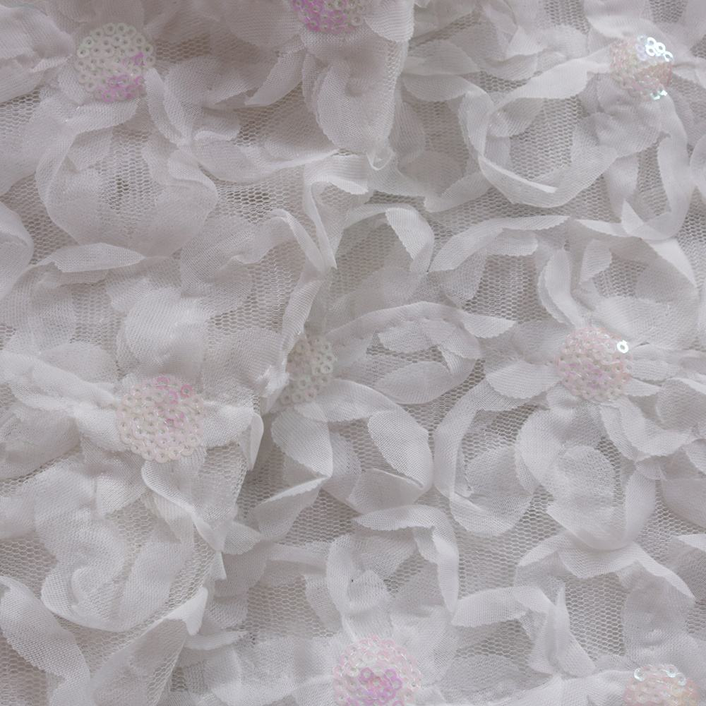 white chiffon ribbon with sequins embroidery fabric stretch mesh sequins fabric