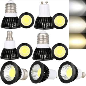 Hoge Kwaliteit 3W 5W 7W 48 Mm Led Cob Spot Light 12 V 85-265V MR16 GU10 GU5.3 E12 E14 E27 B22 Led-Spot Zwart