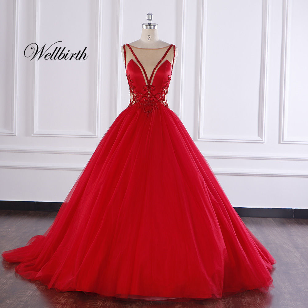 Custom High-end Embroidery Bridal Lace Ball Gown Beading Tulle Chapel Train Formal Red Wedding Dresses Evening Prom Gown