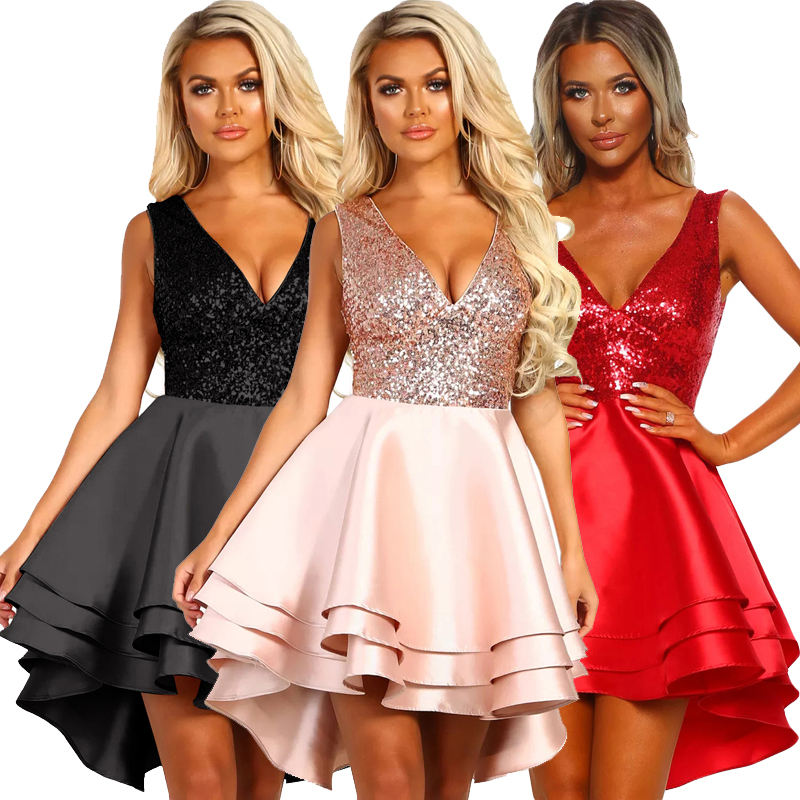 New Style Women Sexy Heart Broken Pink Gold Skater Multi Layer Sequin Dress