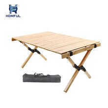 HOMFUL Simple Setup Short Camping Table Folding Wood Table for beach, picnic, camp or as a gift