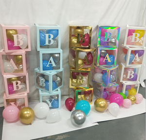 Pafu haustier katze geburtstag party baby shower favors DIY 4pcs klar transparent block ballon box mit buchstaben dekorationen