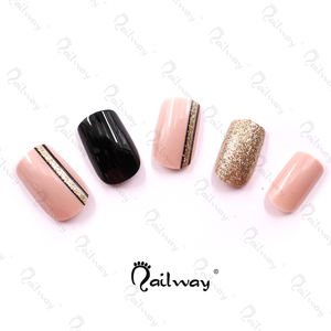 Wholesale Hot Selling 24pcs Fake Nail Sets Pink And Golden Glitter Shiny Press On Nails Pre-Glued Artificial Nail Tips