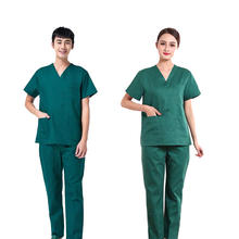 Custom Logo Embroidered Cotton Medical Doctor Uniform Tops And Pant Sets