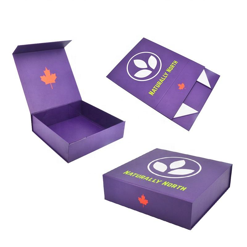Customize Color Printing Packaging Boxes Magnetic Lid Purple Foldable Gift Boxes For Work Home Packing Products