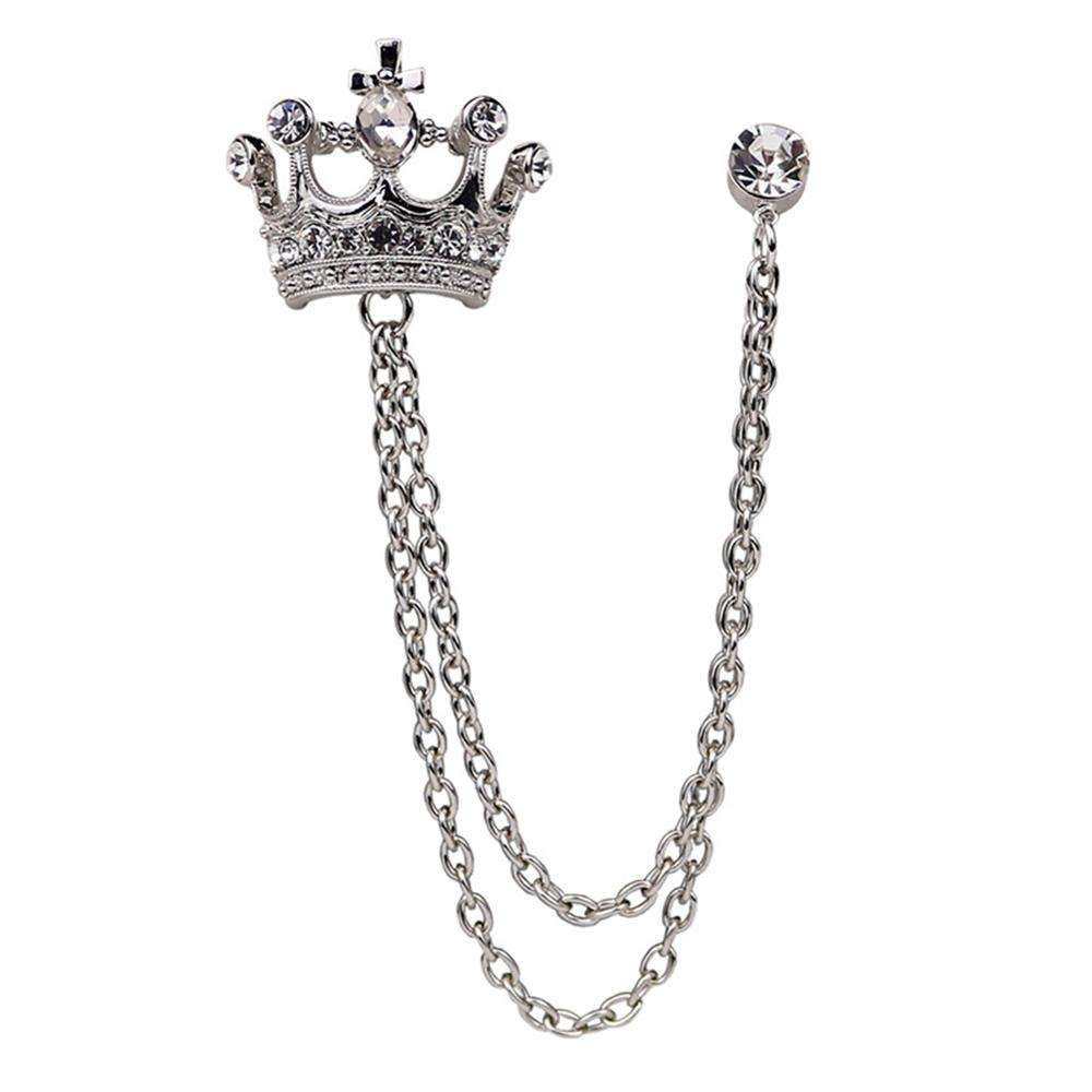 SIYWINA Customized Crown Brooch for Men Suit Pin Vintage Chain Brooches Suit Shirts Accessories