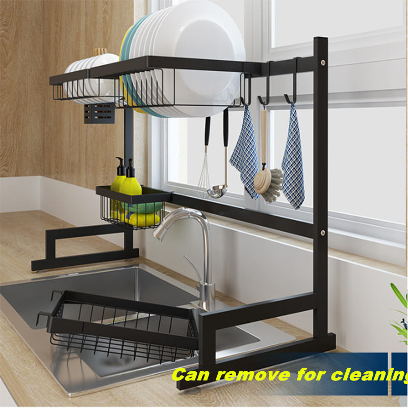 Freestanding stainless steel kitchen set organizer bowl knife dish drainer over sink dish rack