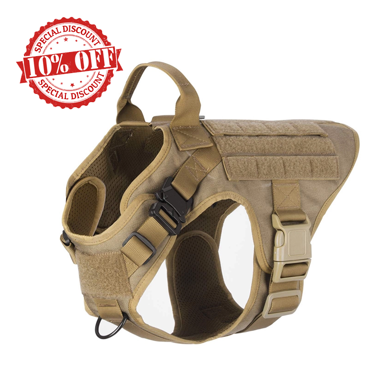 Custom Logo Big Adjustable Non Pull Dog Hunting Harness Outdoor Tactical Military K9 Army Dog Safety Vest Harness for Dog