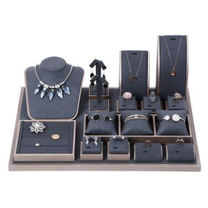 Luxury Jewelry Store Display PU leather Covered Jewellery Stand for Countertop Showcase Jewelry Display Sets