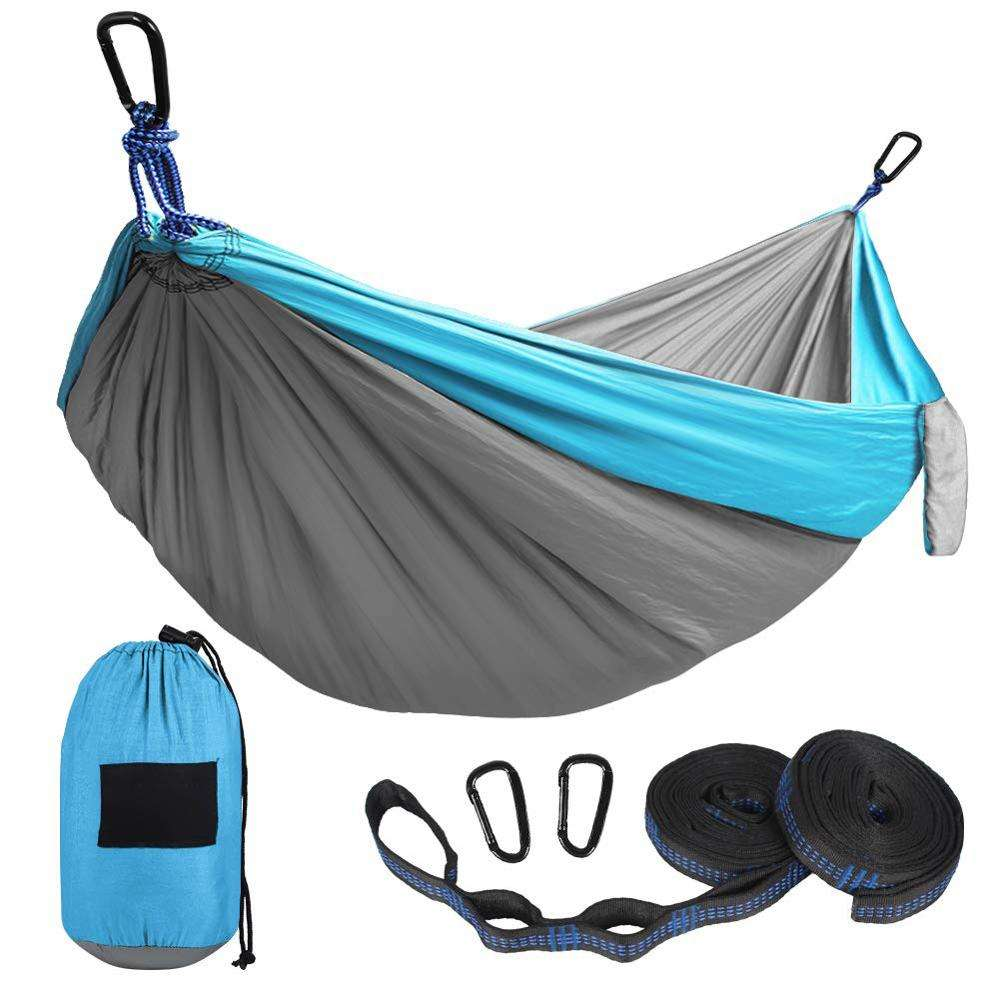 Camping Hammock Double & Single Portable Hammocks with 2 Tree Straps, Lightweight Nylon Parachute Hammocks for Backpacking