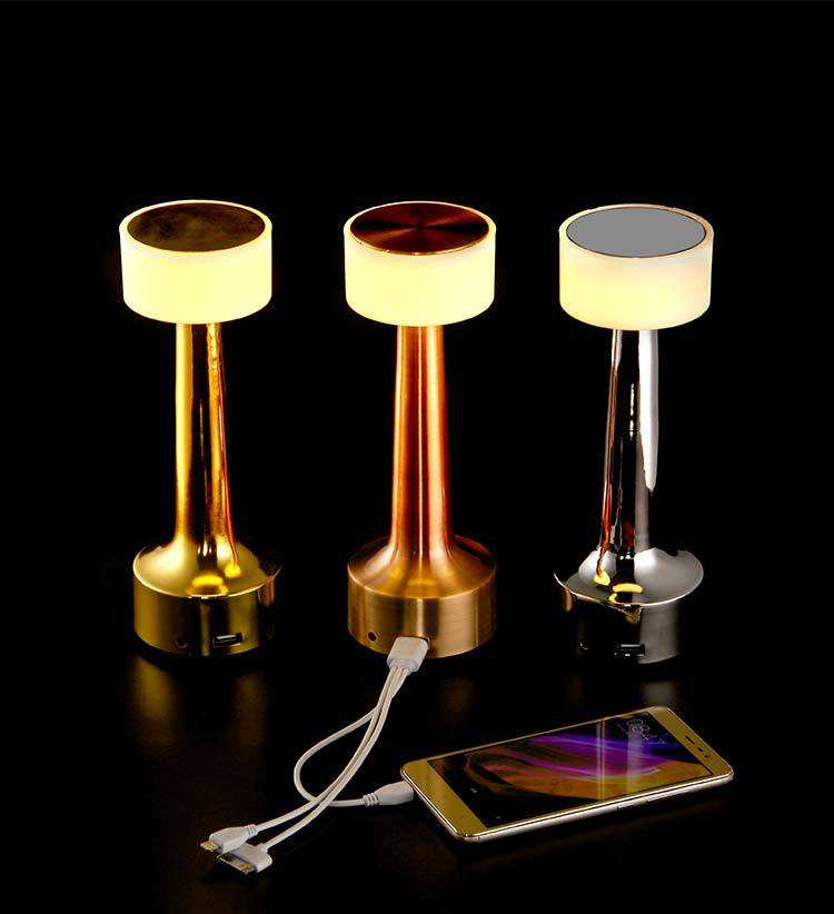 Rechargeable LED table night light Mini gold cordless restaurant touch pool usb table lamp for hotel and Bar HT20091-1T