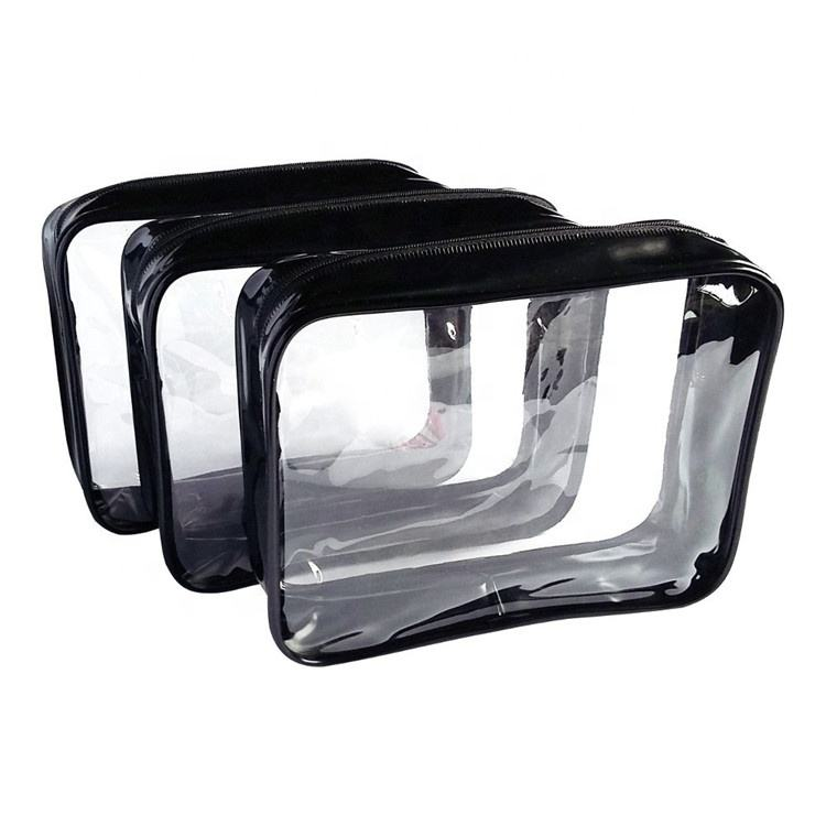 Promotional Travel Transparent PVC Waterproof Toilet Cosmetic Bag Clear Makeup Bag Pouch with Zipper