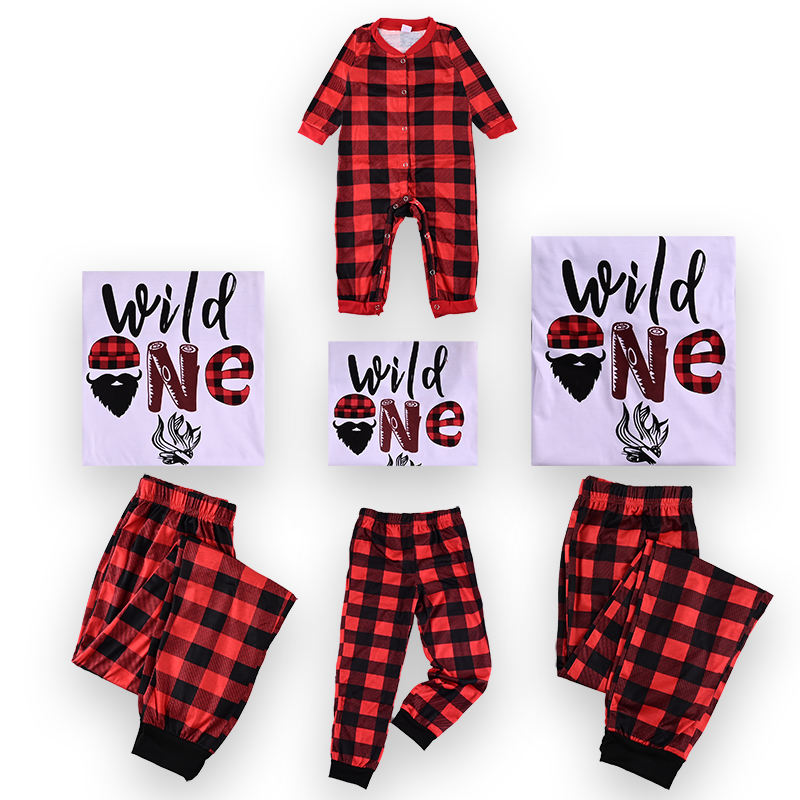 Custom high quality printing christmas pajamas family matching clothing for babies