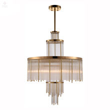 Tikanna New 2020 Modern Clear Crystal Glass Brass Round Pendant Lamp for Home Decoration