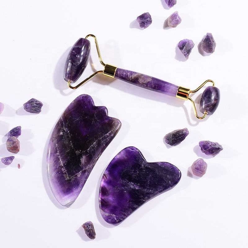 Natural Jade Roller Massager amethyst crystal face massage roller amethyst gua sha