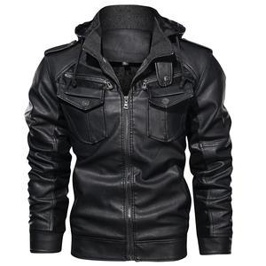 Wholesale US Size Man Leather Jacket Plus Velvet Winter Coat Jackets Motorcycle Pu Faux Leather Jacket with Removable Fur Hood