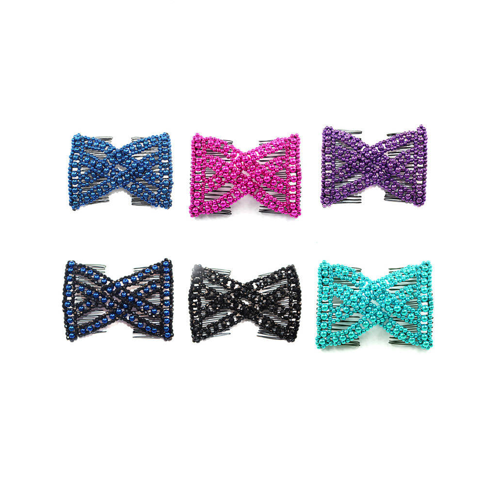 Beads Hair Magic Elastic Hair Clips Stretchy Hair Comb Double Clips for Women Girls Accessory,For Women Styling