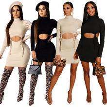 fashion 2019 fall clothing long sleeve rib knit high waist skirt set bandage dress