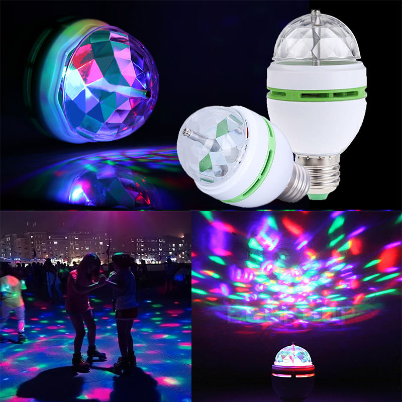 RGB LED Light Bulb 3W <span class=keywords><strong>E27</strong></span> Bola de Cristal Auto Rotating Lâmpada Para Bar Party DJ Disco Party Stage
