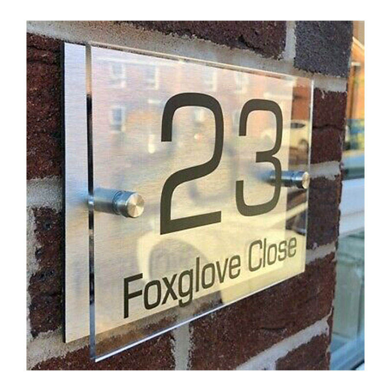Personalised Contemporary House Address Signs Plaques Glass Effect Rectangle Door Number Sign