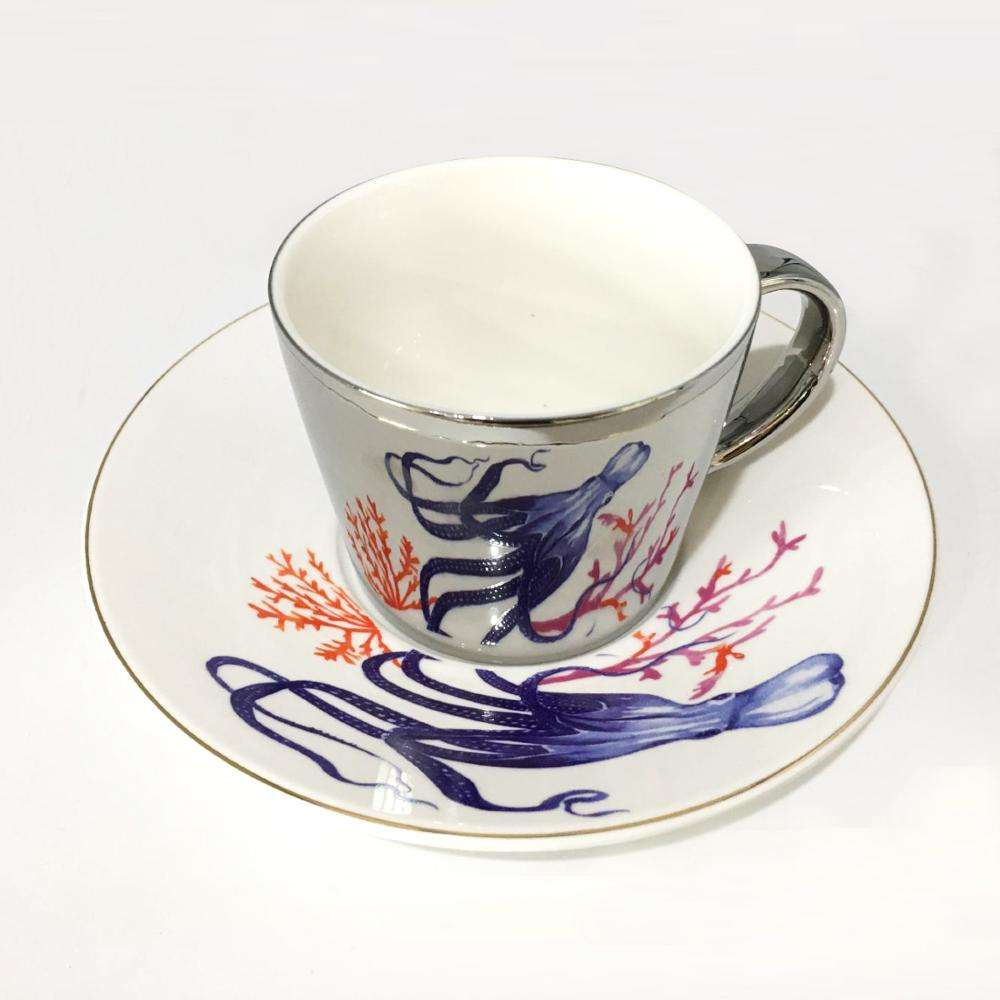 China factory ceramic elegant royal saucers sets tea cups and saucer coffee luxury mirror cup mug