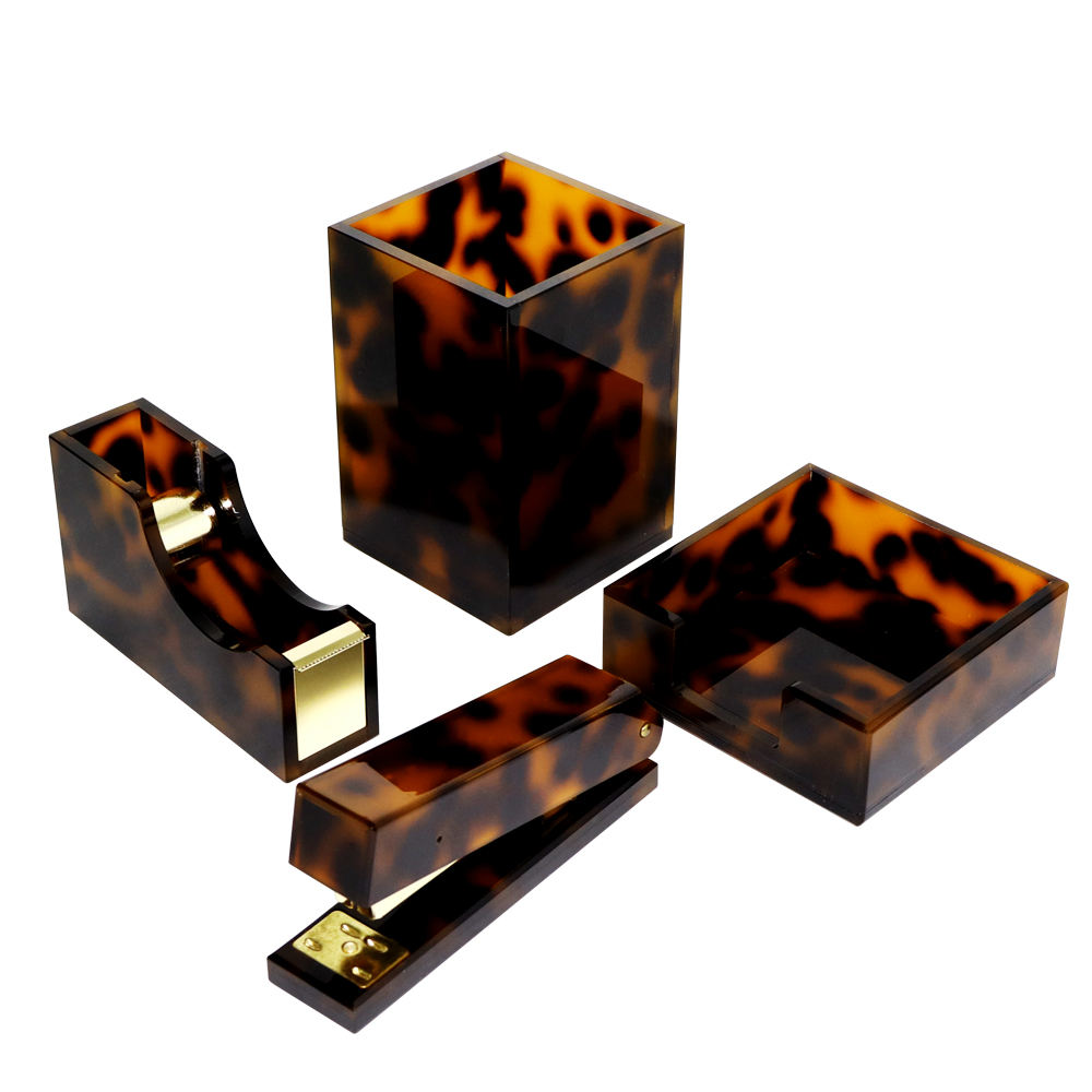 office supplies table organizer set acrylic brown leopard desktop accessories