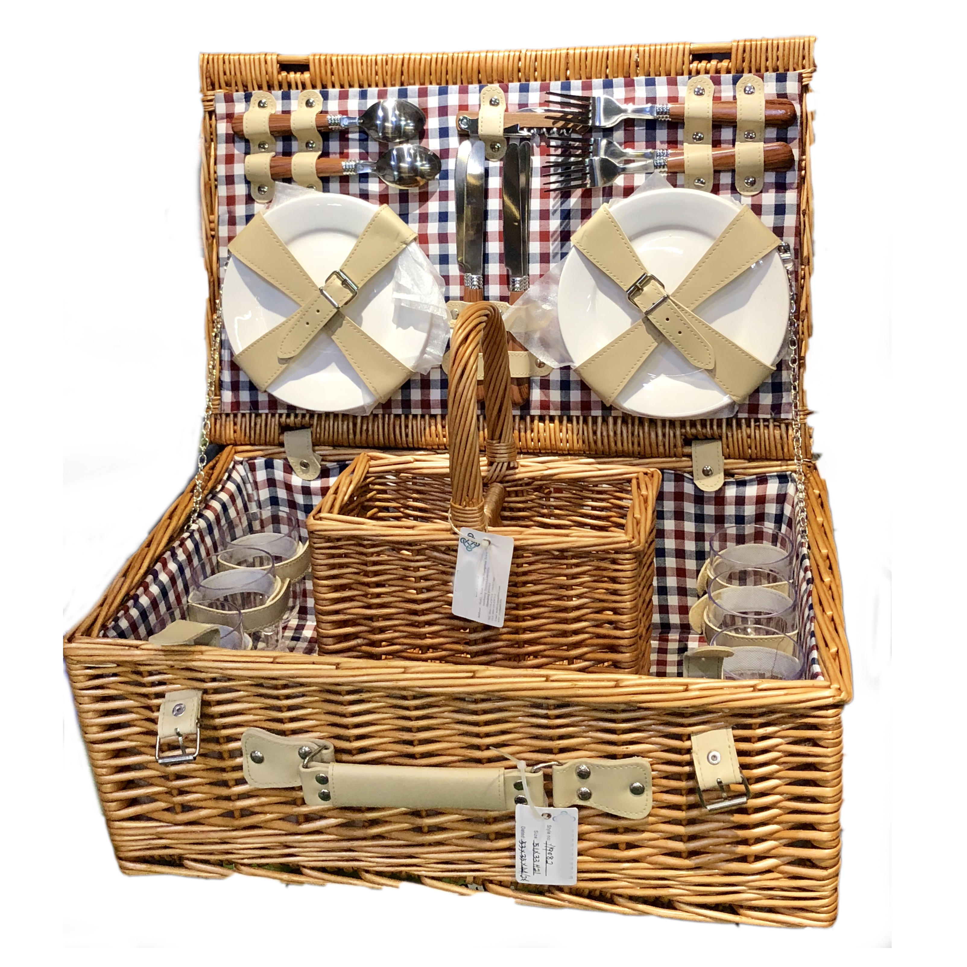 Wooden Wholesale Foldable Willow Wicker Picnic Basket For 2 4 Person