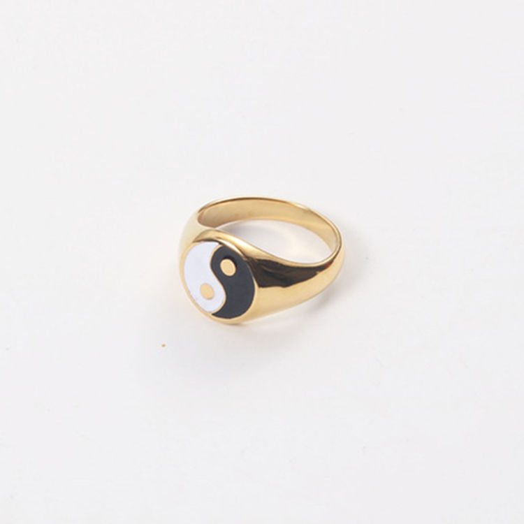 18K Gold Plated Stainless Steel Ying Yang Symbol Signet Ring