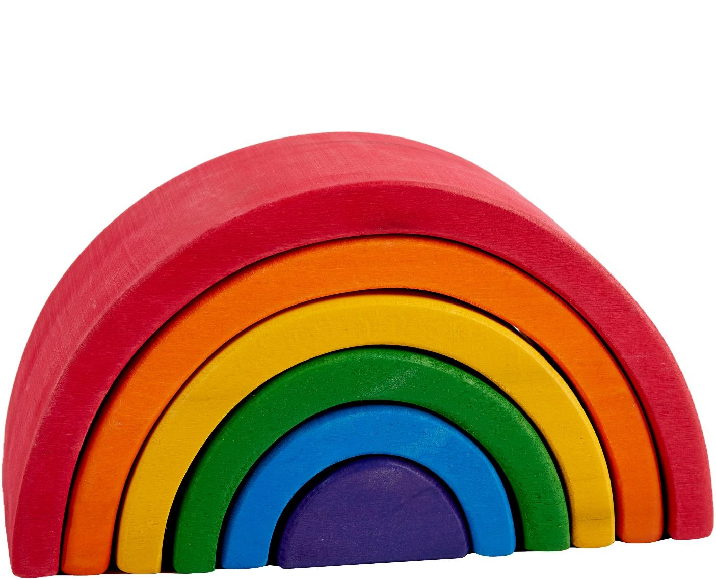 6 Pcs Colored Arch Educational Blocks Montessori Toy Children Wooden Rainbow Stacker For Kids