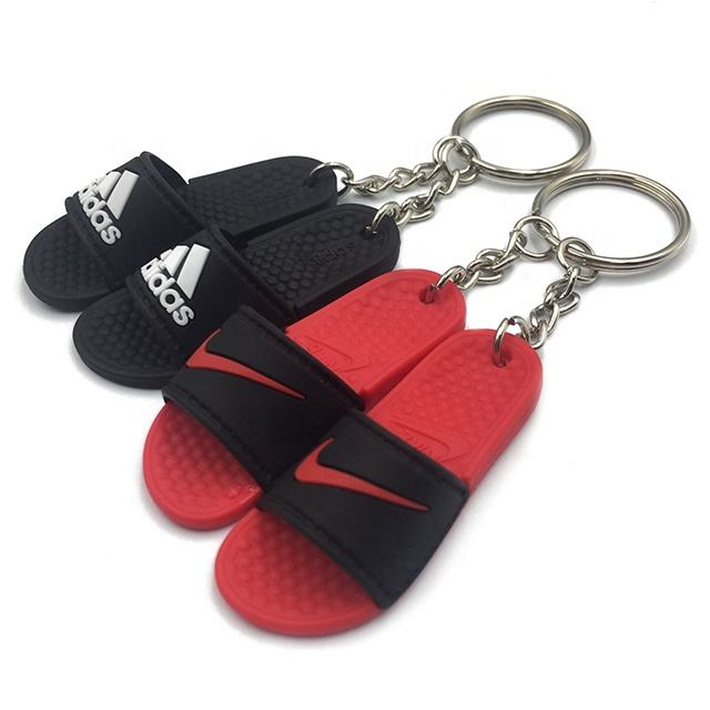 Dekai Wholesale Plastic Silicone 3D Mini Flip Flops Slipper Keychain With Mini Shoe Box