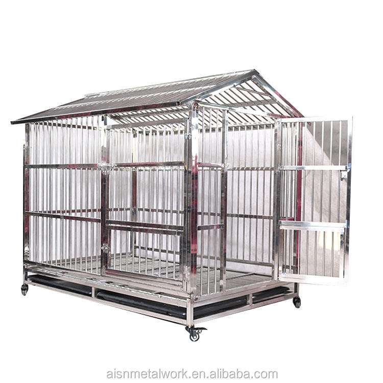 China Wholesale Dog Crate Foldable stainless steel Dog Cage With Wheels