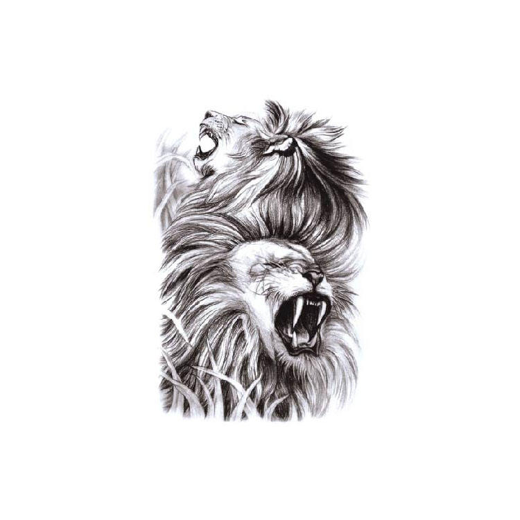 Custom Peelable New Designs For Men Temporary Lion Tattoo Sticker