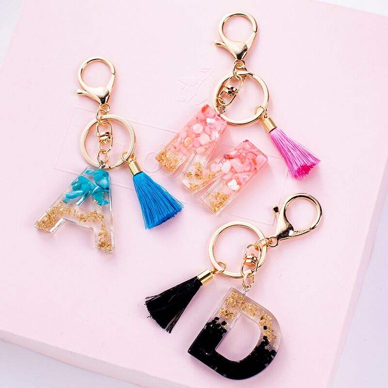 New Arrival Fashion Letter Shape Acrylic Free Design Keychain