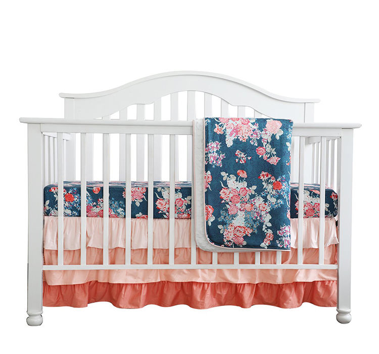 Minky Blanket Crib Rail Cover Peach Girl Crib Set Floral Ruffled Skirt 3 pcs Set Coral Navy Floral Baby Crib Bedding Set
