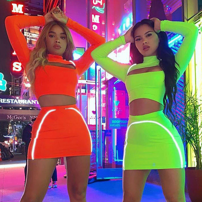 2020 New Trendy Solid Color Ladies Club Wear Two Piece Set Women Clothing Women Bodycon Dress Sexy