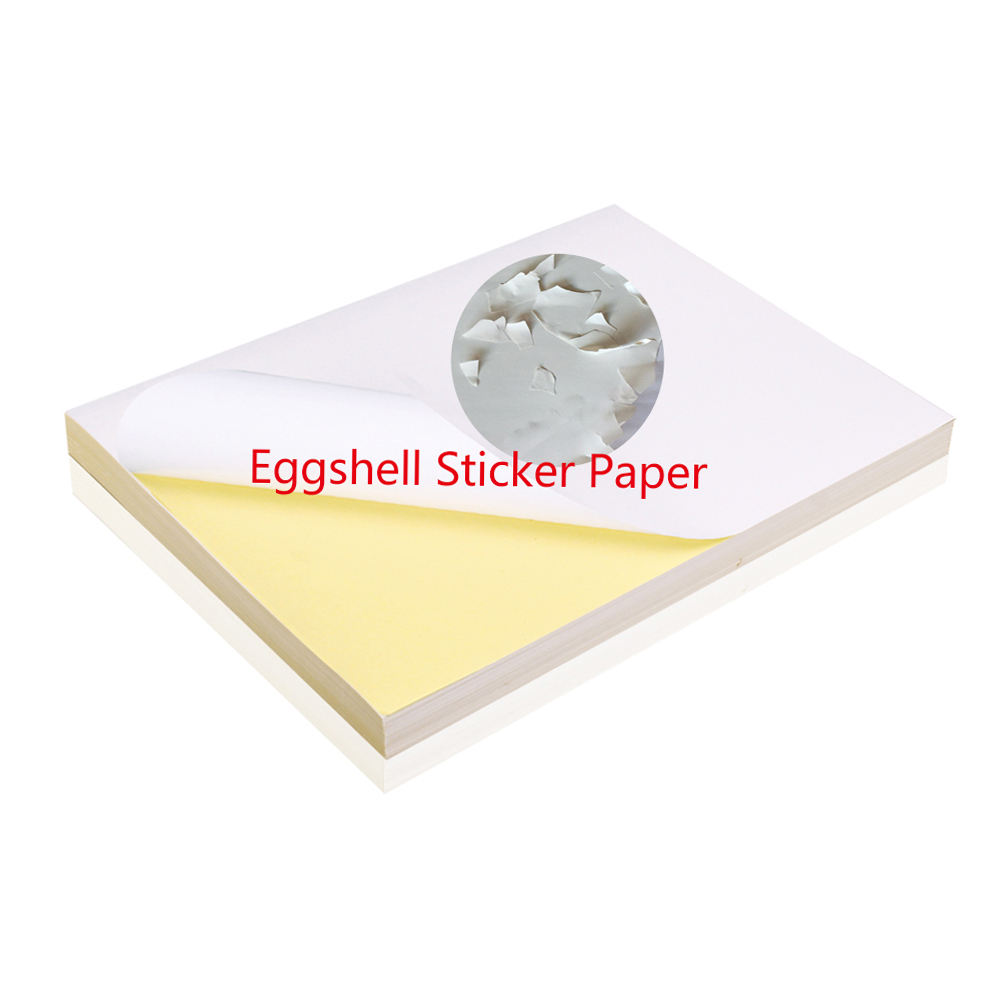 Custom destructible eggshell label color a4 size inkjet vinyl sticker paper sheet