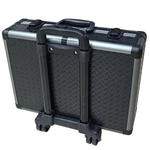 custom accessories black aluminium carrying abs tool box trolley case with wheels and lock